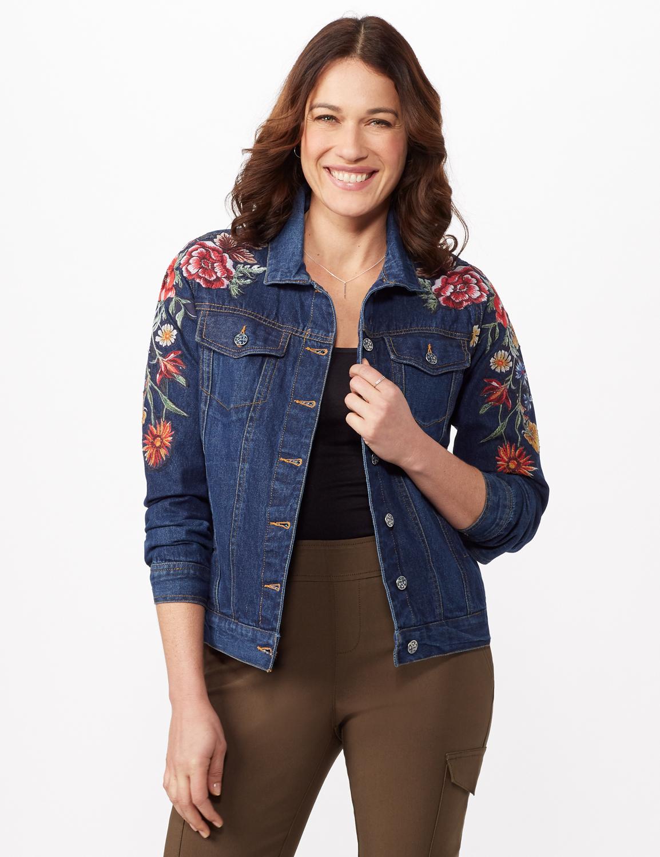 Long Sleeve Embroidered Denim Jacket -Denim - Front