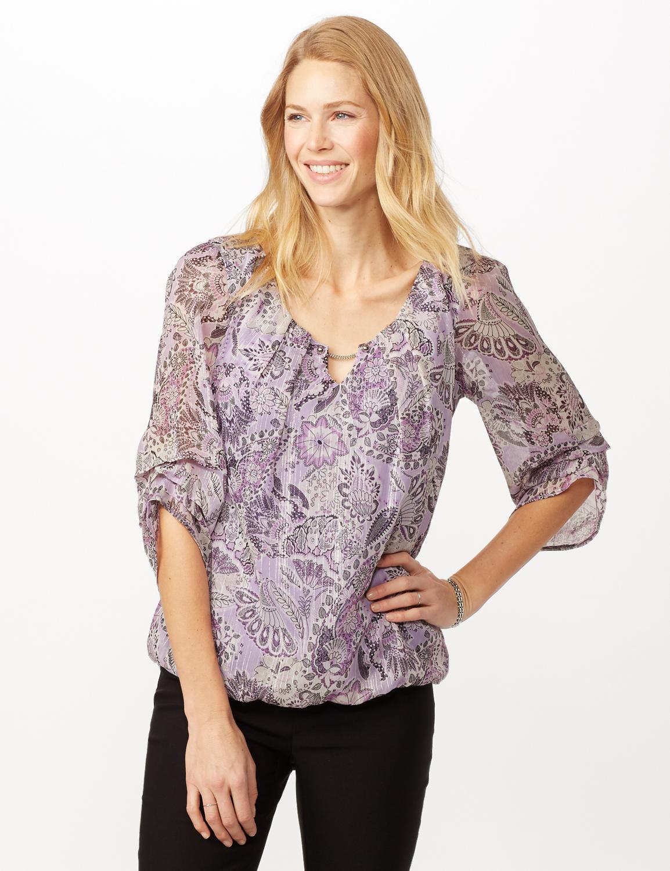 Paisley Floral Bubble Hem Woven Top with Chain Neck Detail - Purple - Front