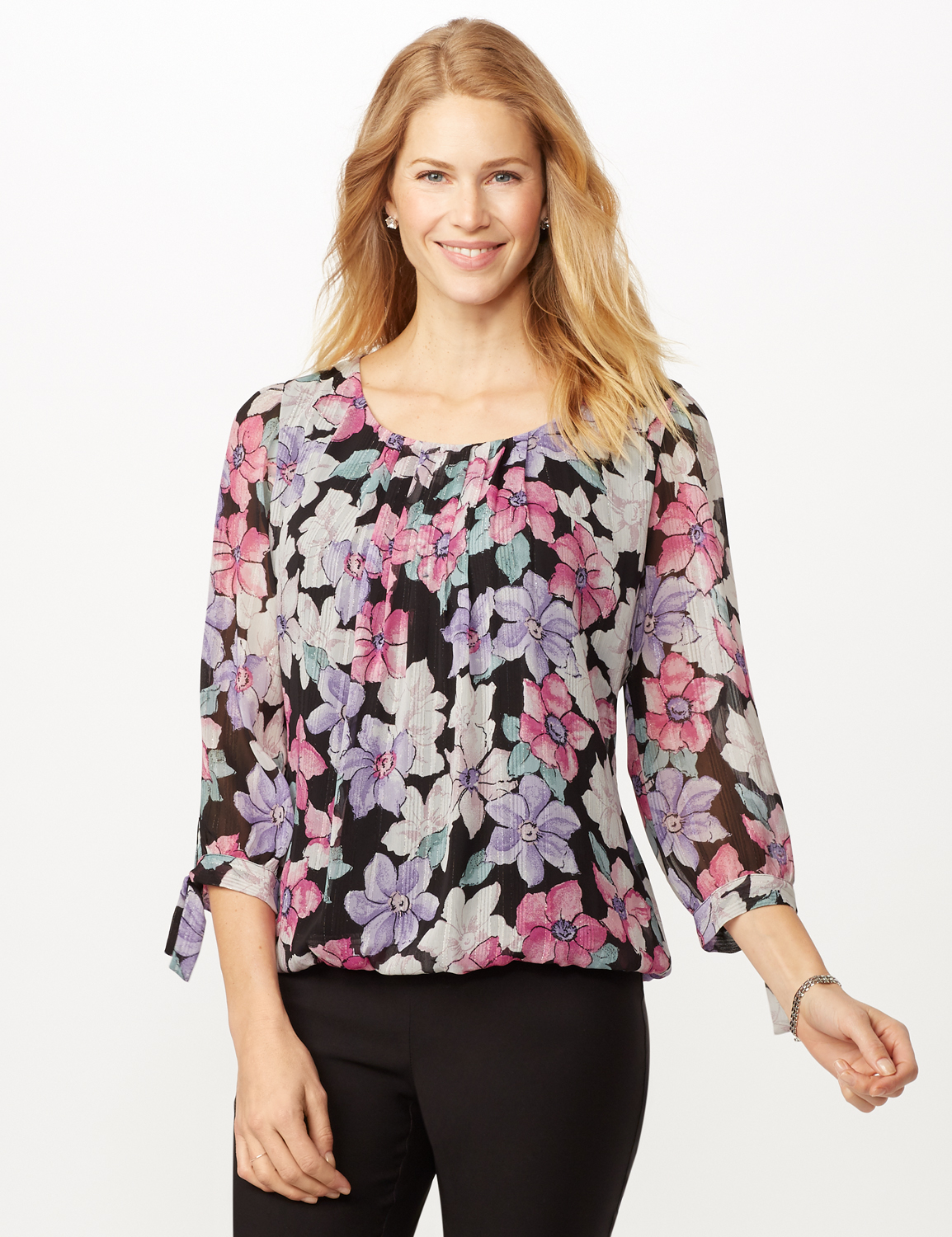 Bright Floral Bubble Hem Top with Tie Sleeve -Multi - Front