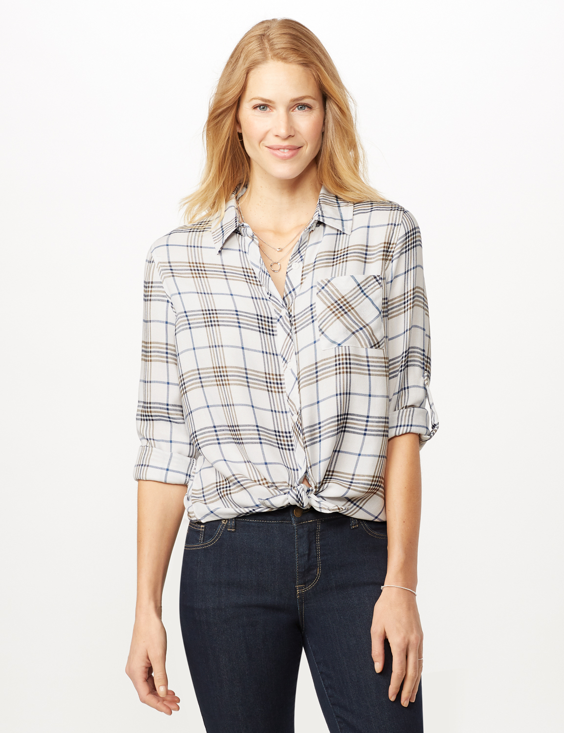 Long Sleeve Plaid Woven Top with Roll Tabs - Ivory - Front
