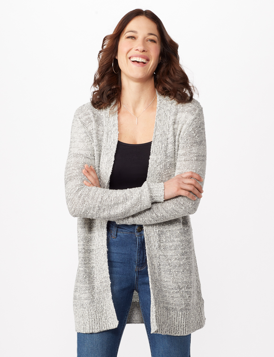 Textured Cardigan with Pointelle Detail - Misses - Ivory/black - Front