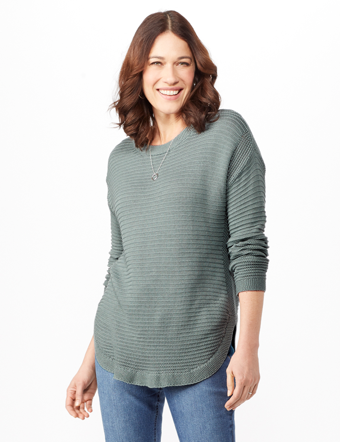 Long Sleeve Ottoman Top Curved Hem -Silver Moss - Front