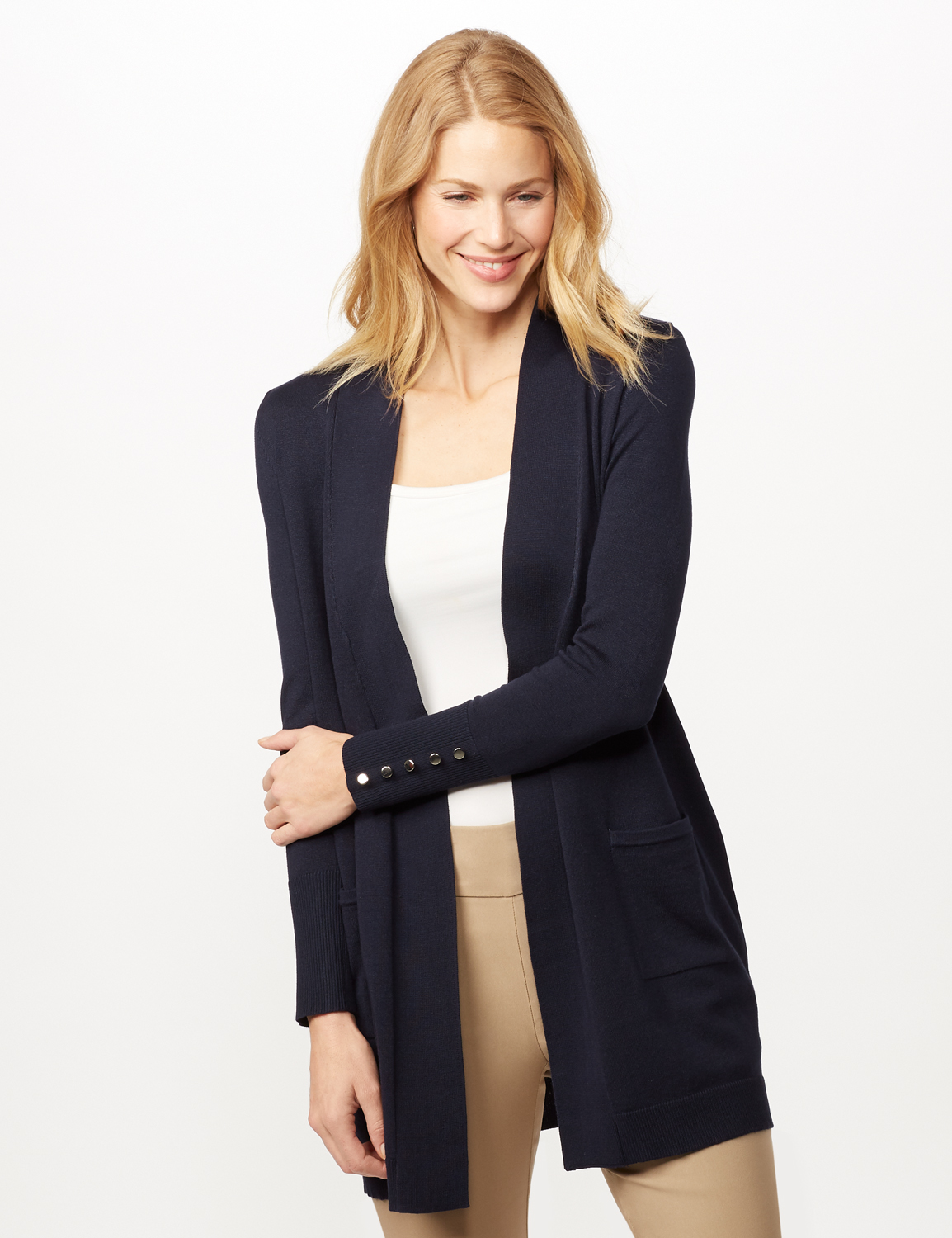 Long Sleeve Two Pocket Button Trim Duster Cardigan -Navy - Front