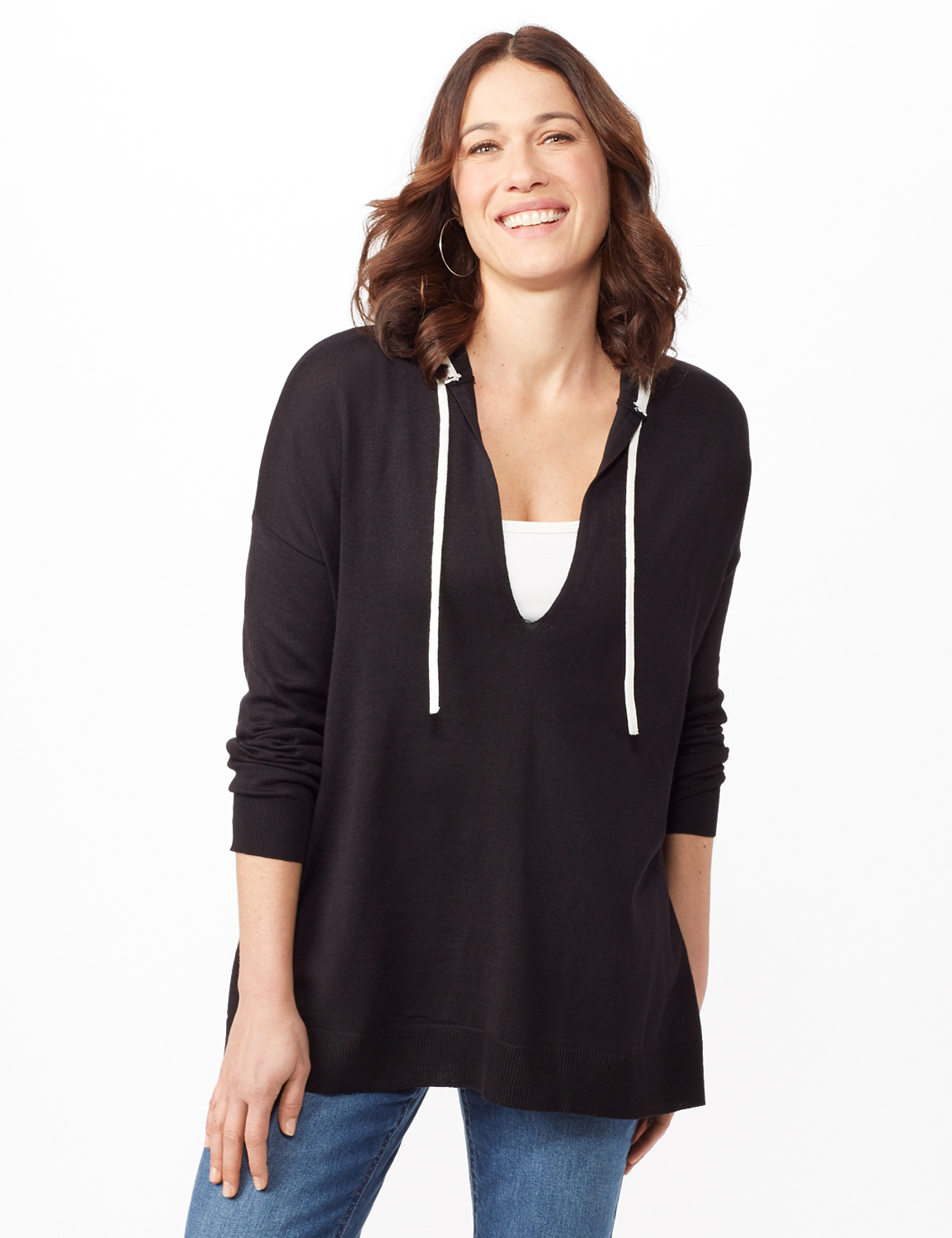 Long Sleeve Pull Over Tunic Hoodie - Black - Front