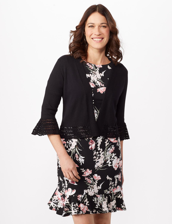 3/4 Sleeve Pointelle Trim Dress Topper - Black - Front