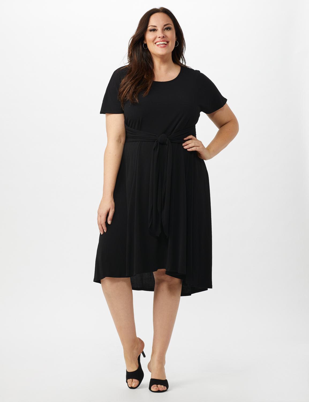 Stretch Crepe Tie Waist Hi/Lo Dress - Black - Front