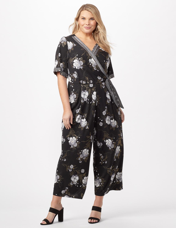 Floral Border Jumpsuit Plus - Black/grey - Front