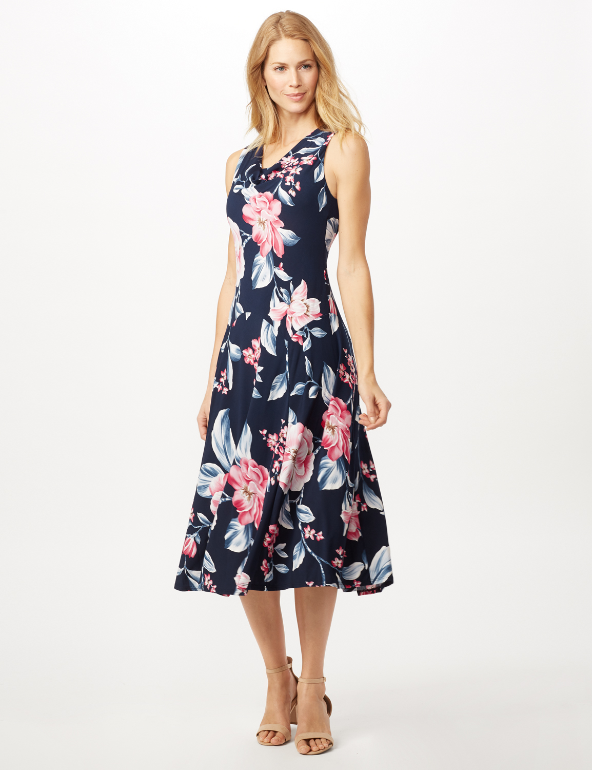 Floral Dress with Crochet Sweater - Navy/pink - Front