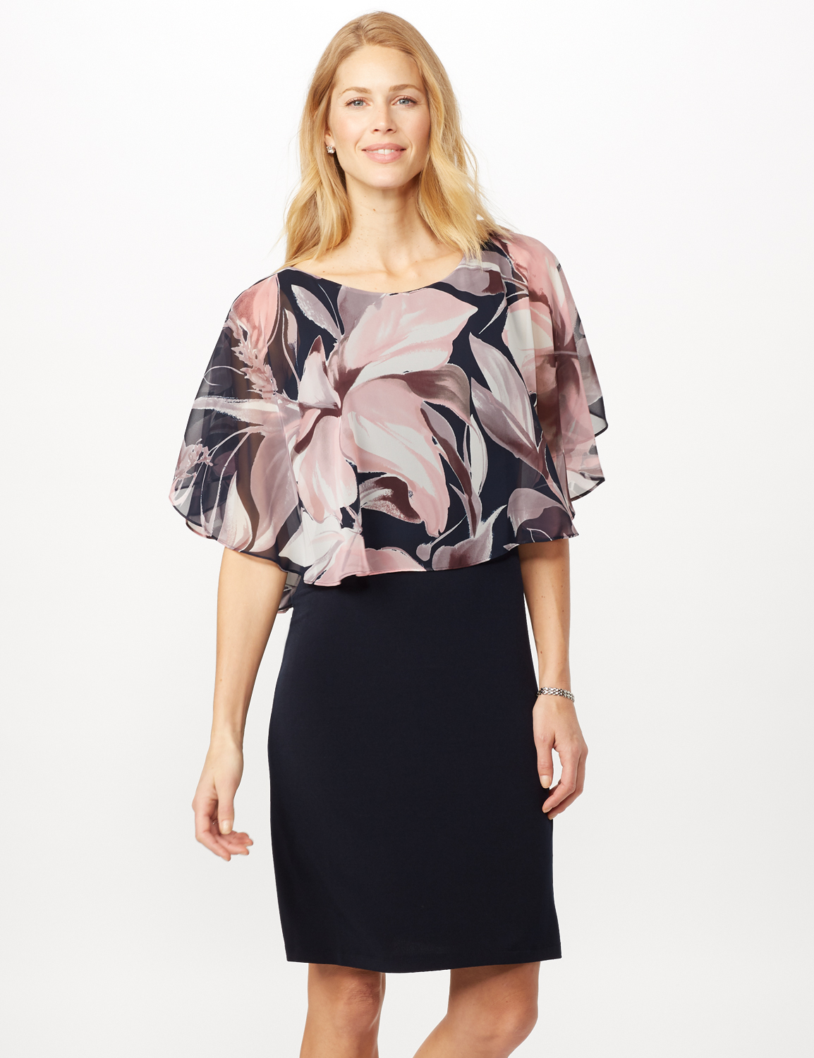 Solid ITY Dress with Floral Print Cape - Navy - Front