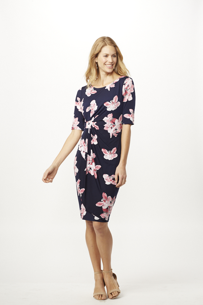 Pink Floral Dress with Side Ruch -Navy/ Mauve - Front