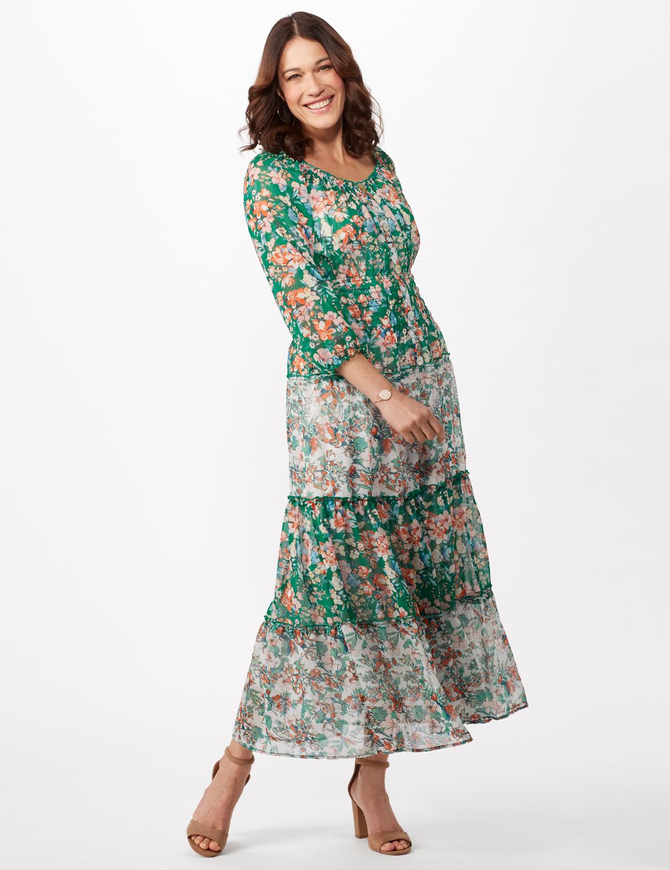 Chiffon Mixed Print Peasant Dress -Green/Pink - Front