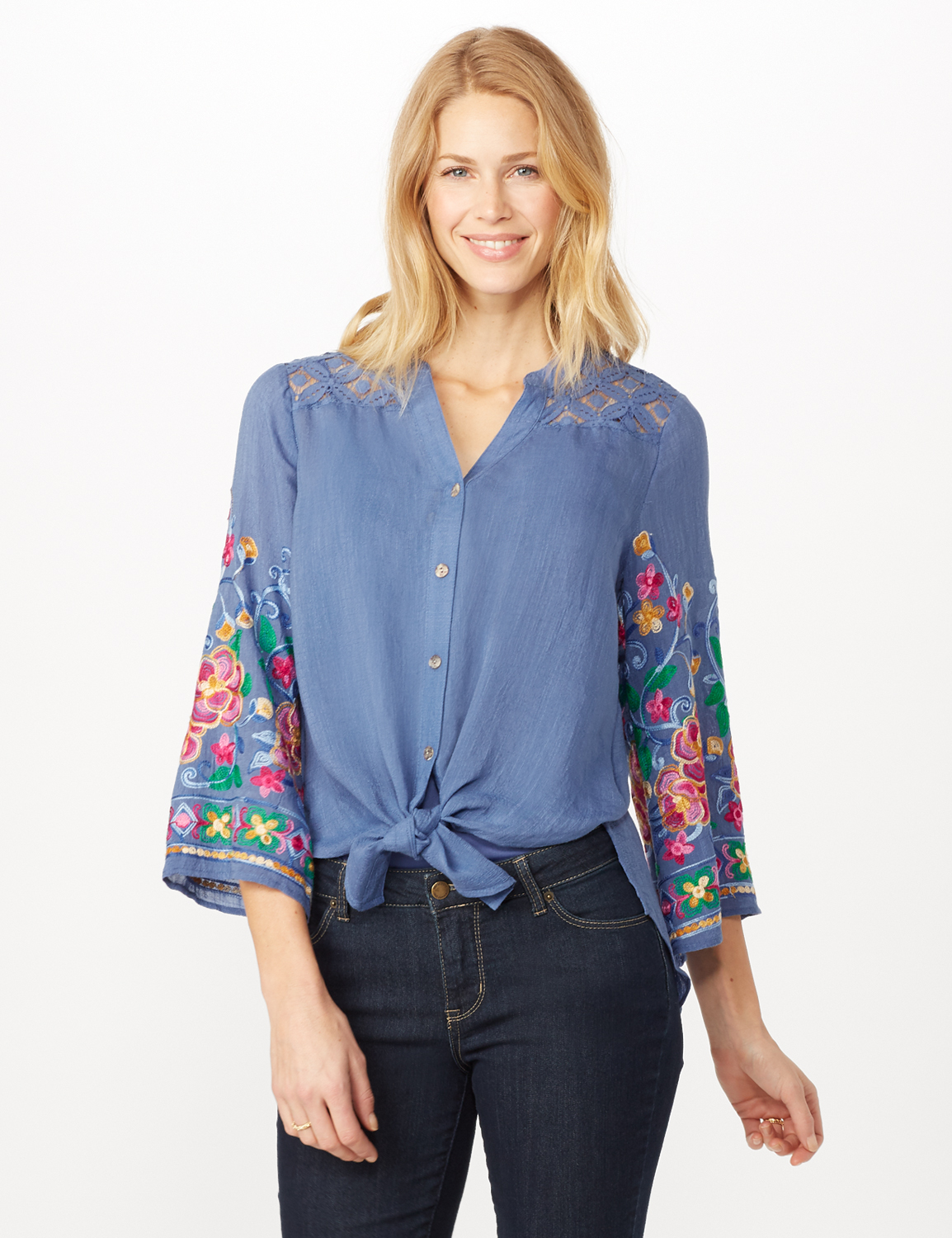 Embroidered Sleeve Woven Top with Tie Front - Blue - Front