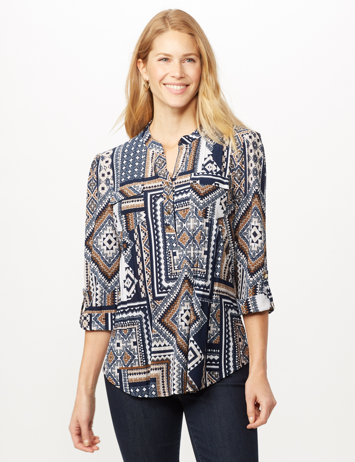 Patchwork Geometric Popover - Blue Multi - Front