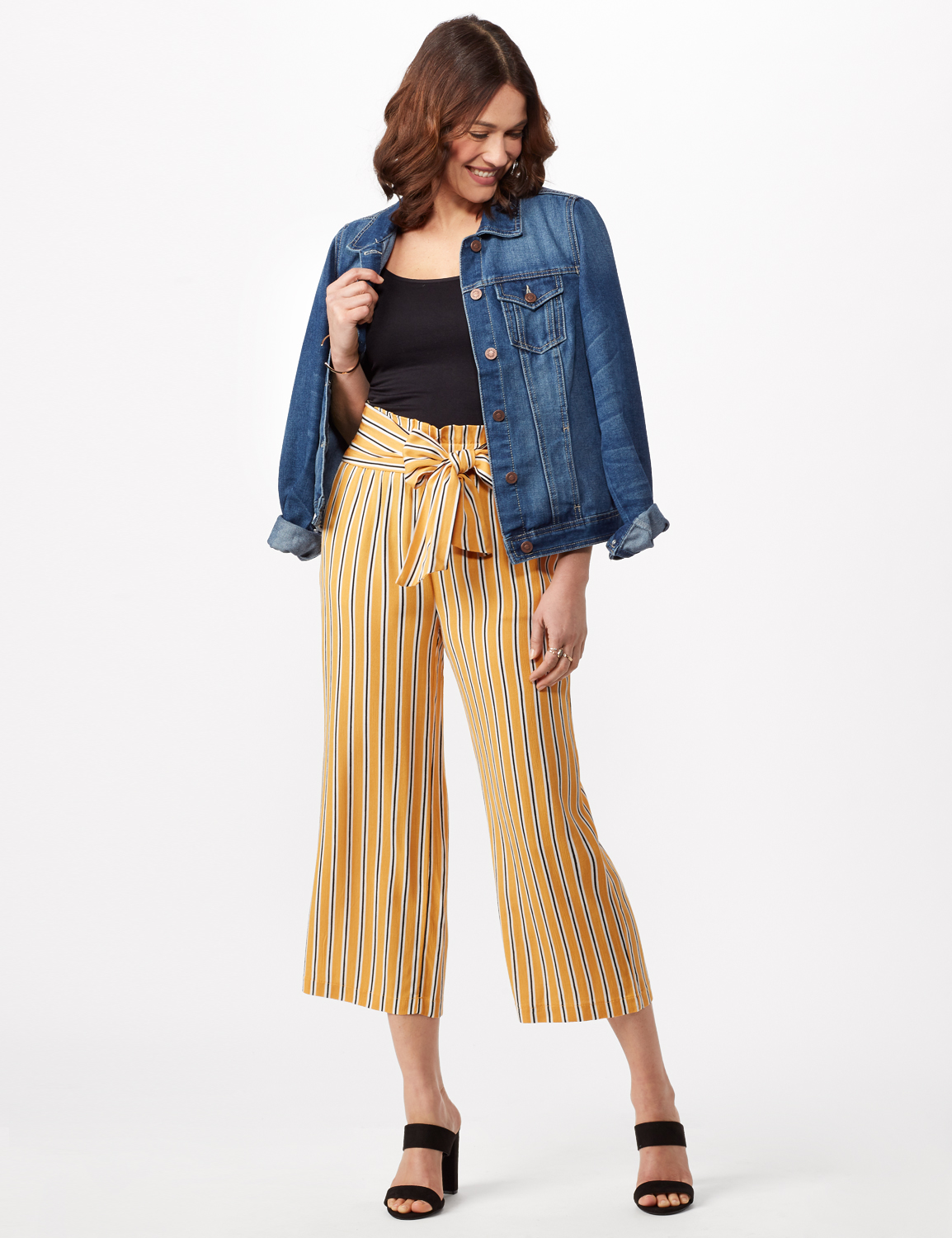 Gold Striped Pants with Tie Waist - Gold - Front