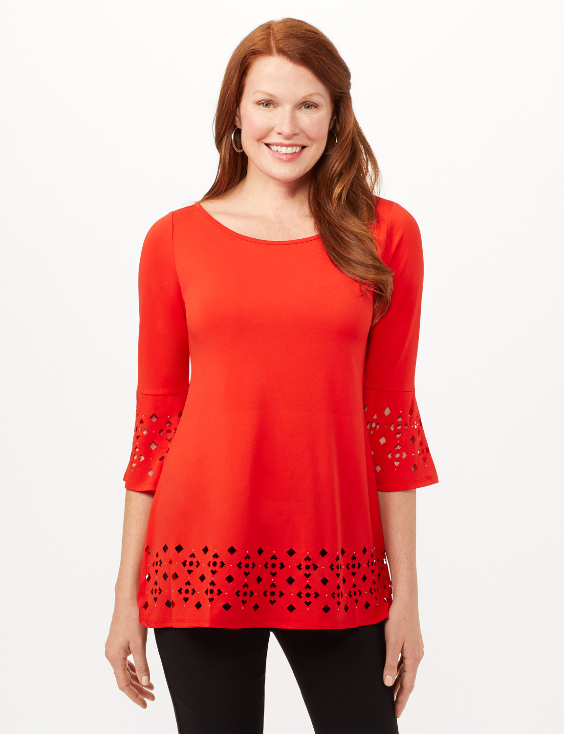 Boat Neck Bell Sleeve Knit Tunic - Blood Orange - Front
