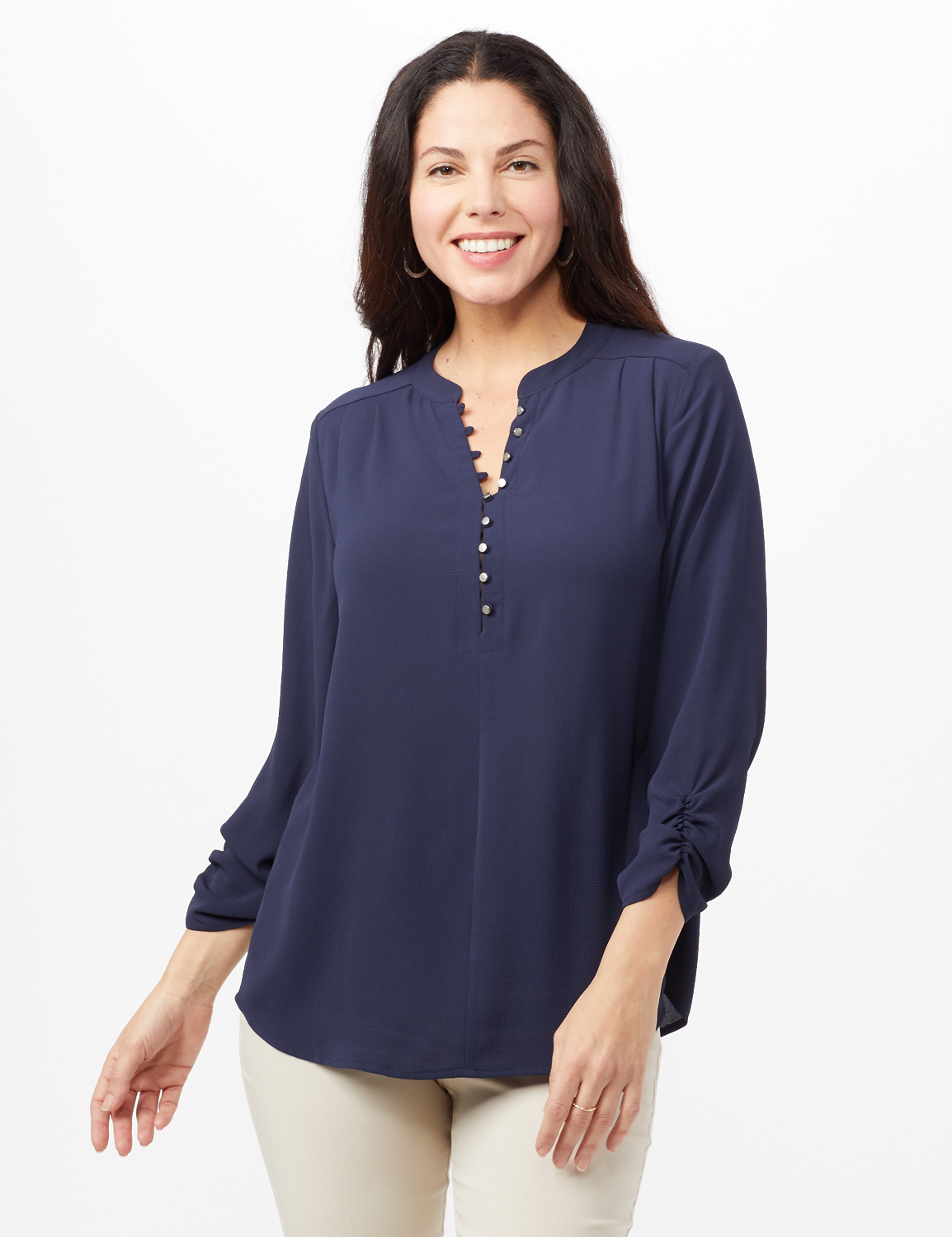 Textured Henley Popover Top - Navy - Front