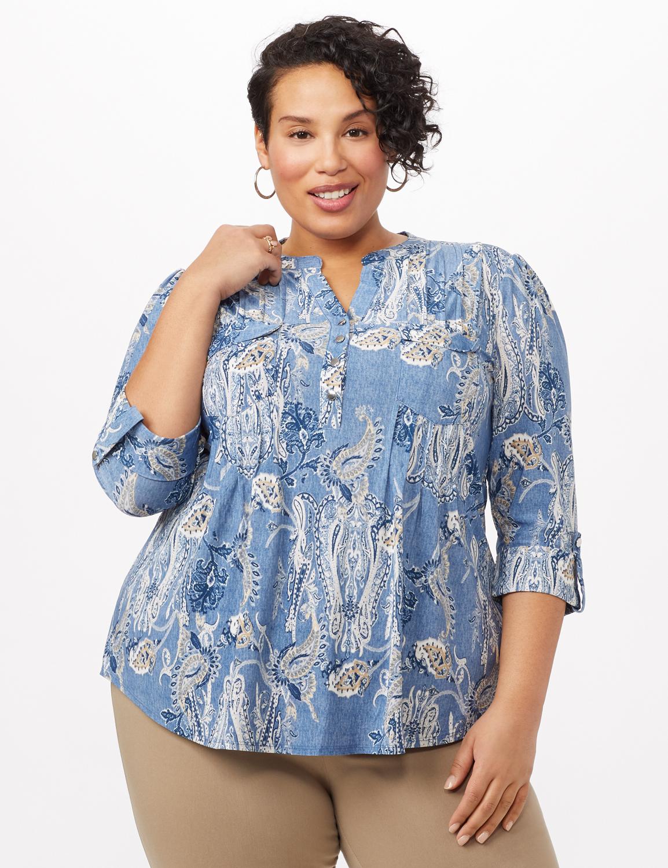 Paisley Knit Popover Top - Lt Blue - Front