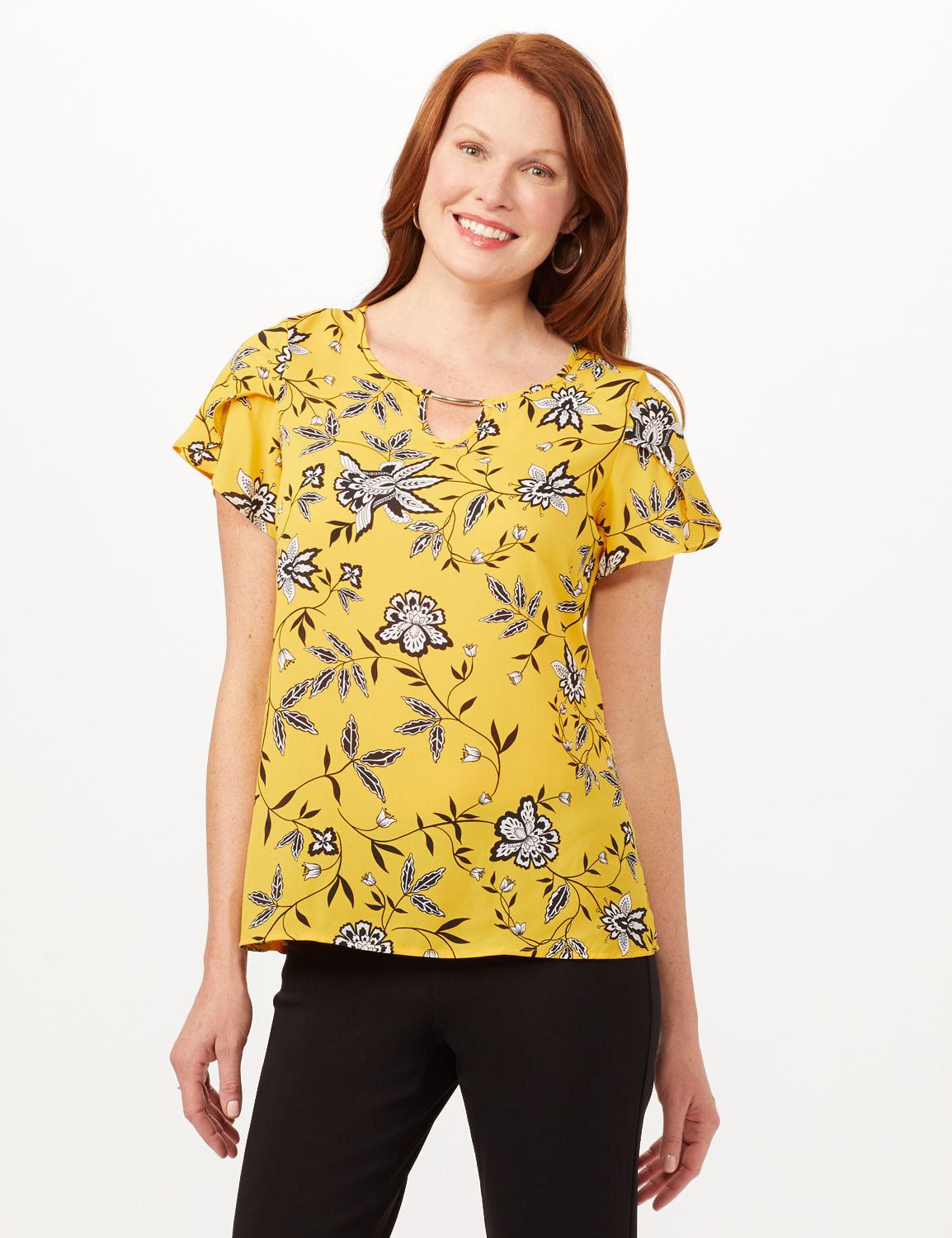 Tulip Sleeve Keyhole Top - Gold - Front