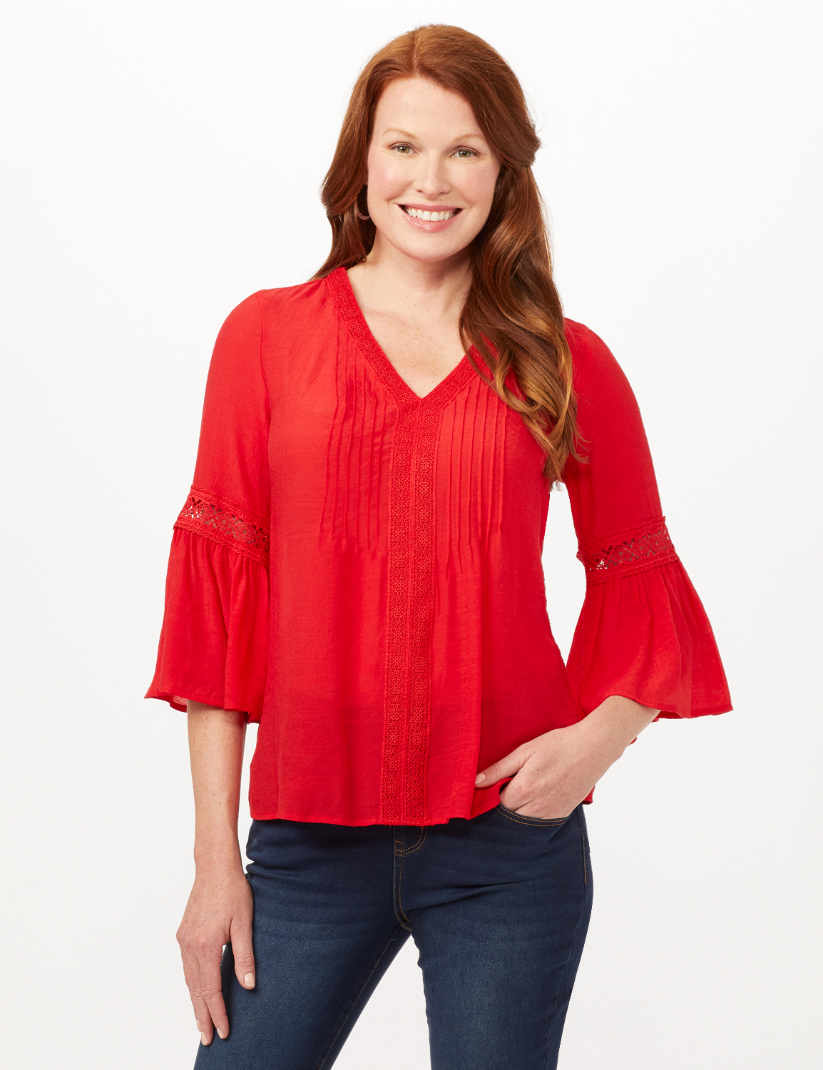 V-Neck Crochet Trim Texture Top -Red - Front