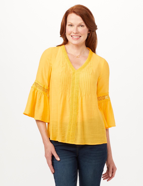 V-Neck Crochet Trim Texture Top -Yellow - Front