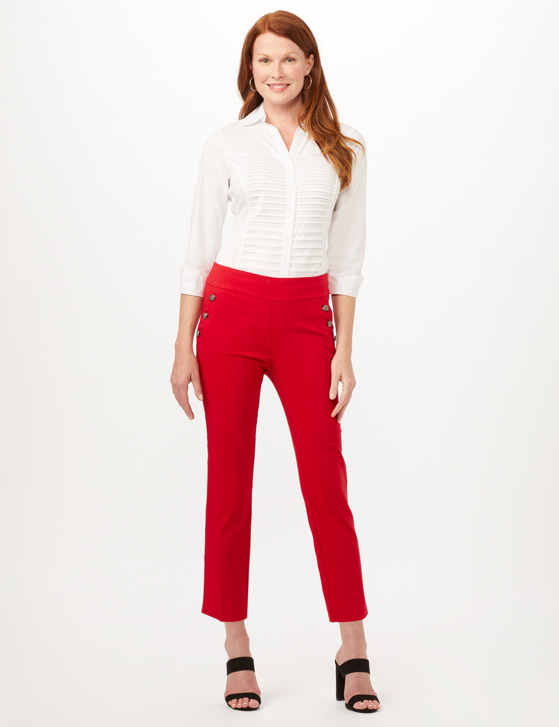 Pull-On Sailor Pants - Red - Front