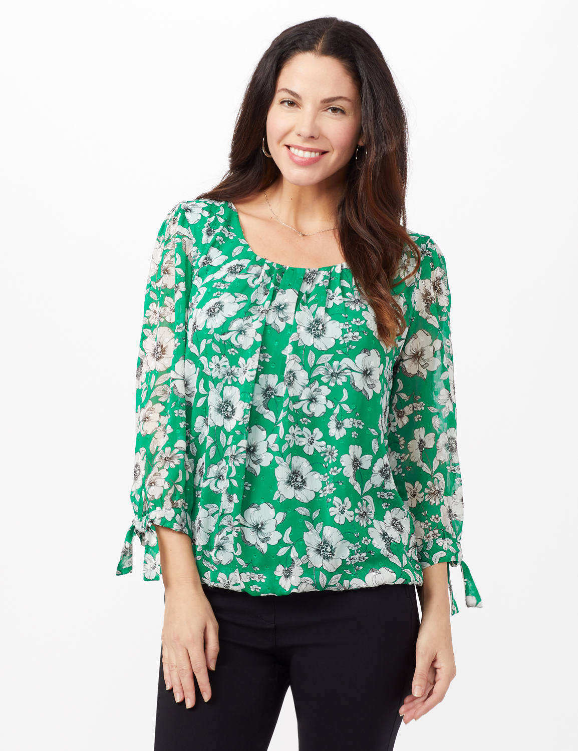 Tie Sleeve Clip Dot Floral Bubble Top -Green - Front