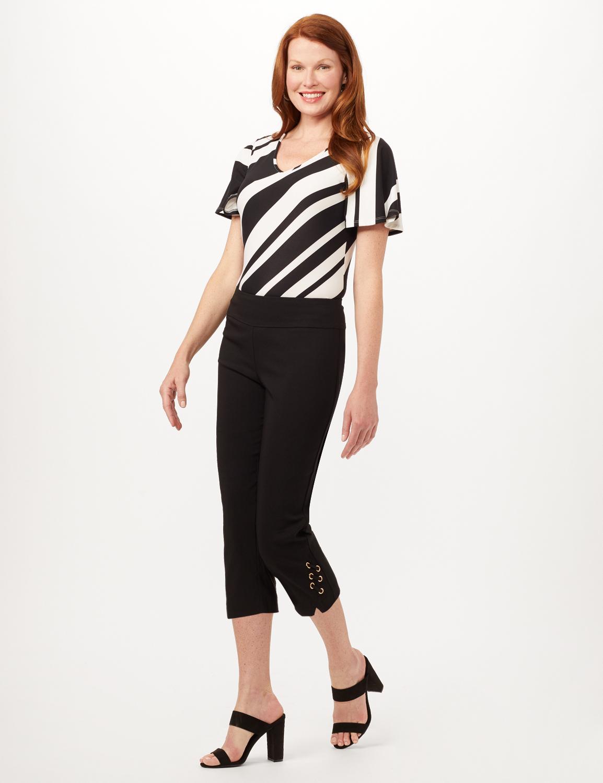 Pull-On Grommet Trim Crop Pants - Black - Front