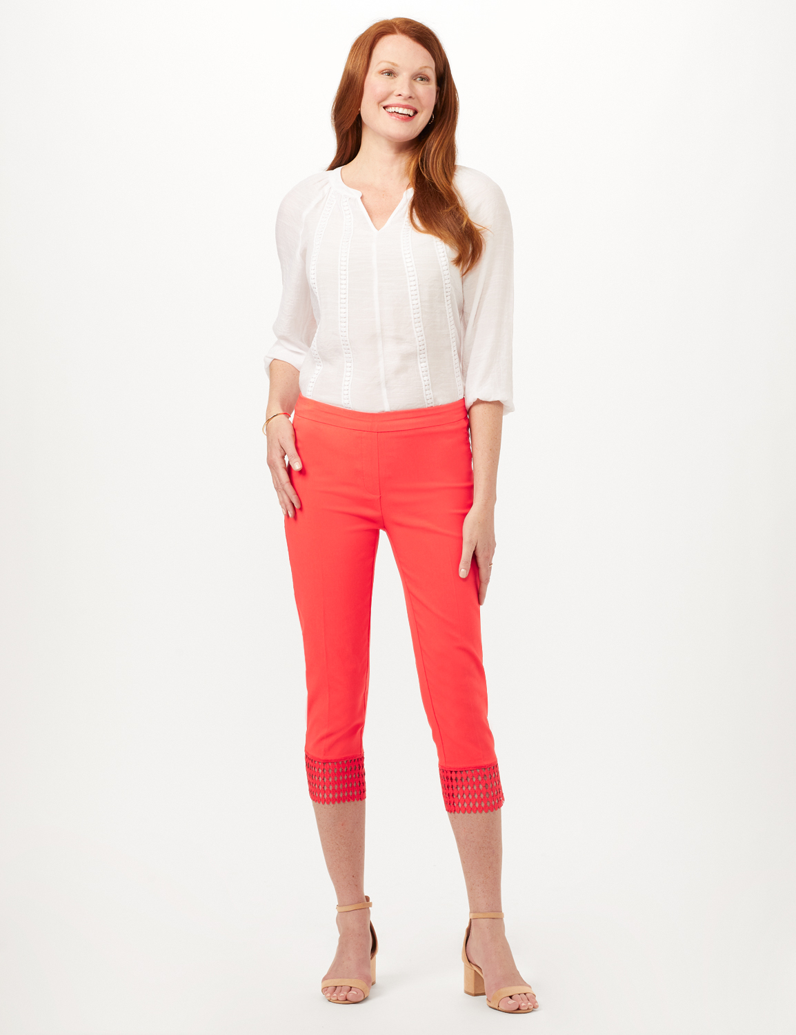 Pull-On Crop Pants with Crotchet Hem Detail -Coralicious - Front