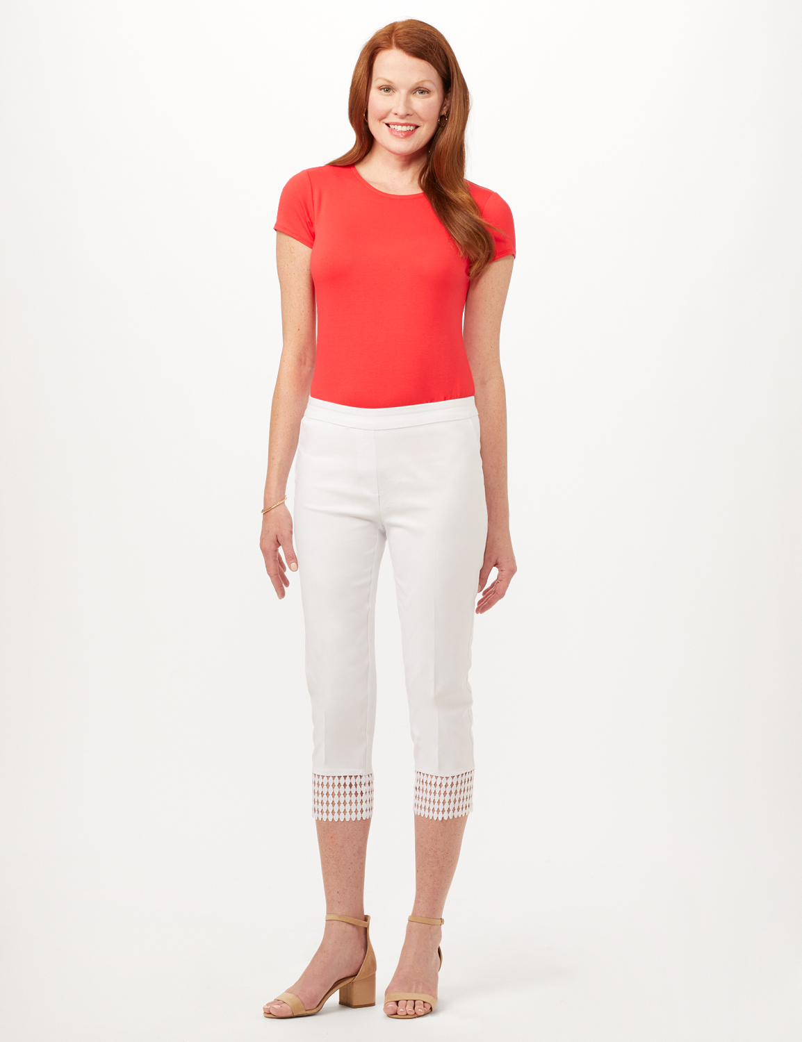 Pull-On Crop Pants with Crotchet Hem Detail -Optic White - Front