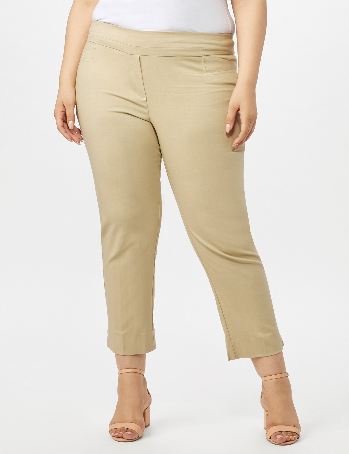 Plus - L-Pocket Pull-On Crop Pants -Chino - Front