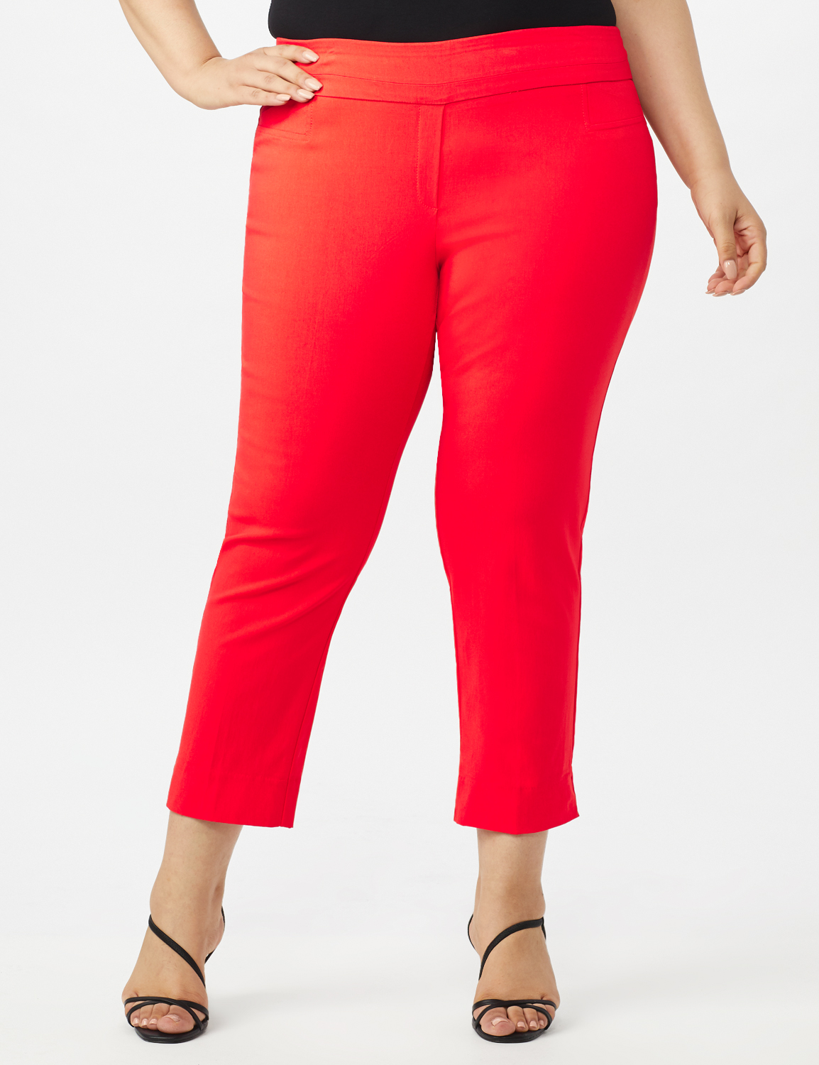 Plus - L-Pocket Pull-On Crop Pants -Coralicious - Front