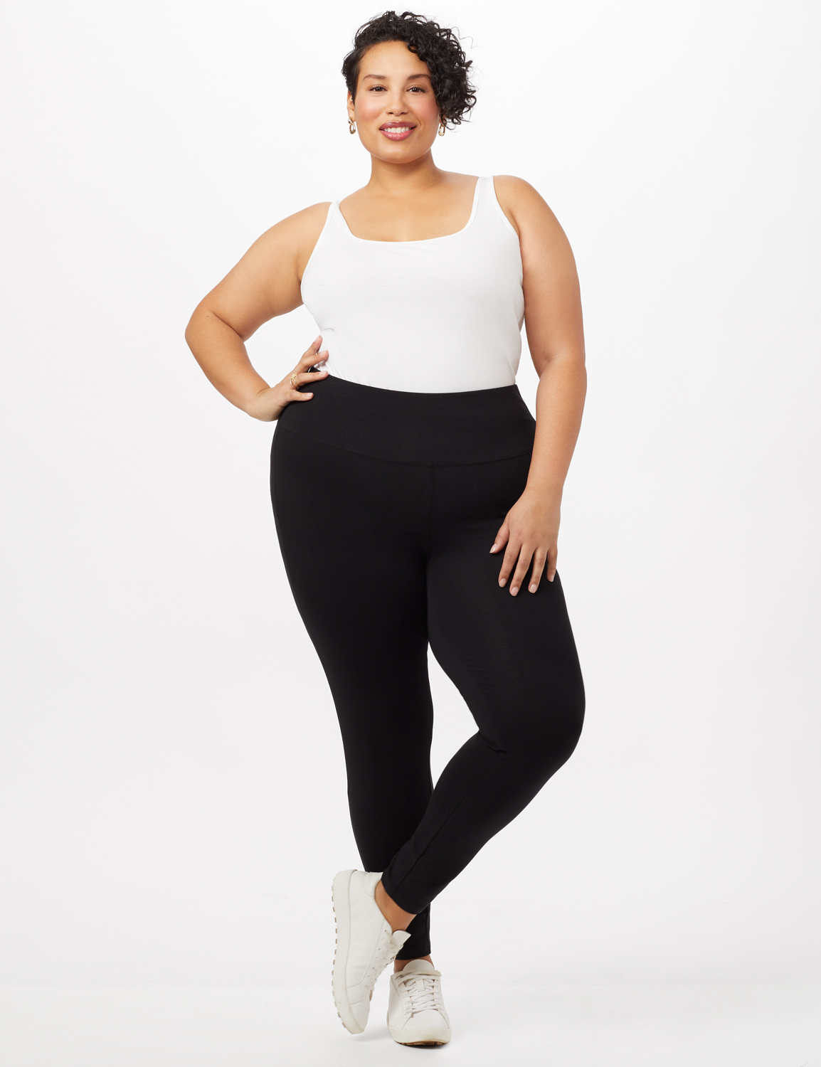 Tummy Control Leggings - Black - Front