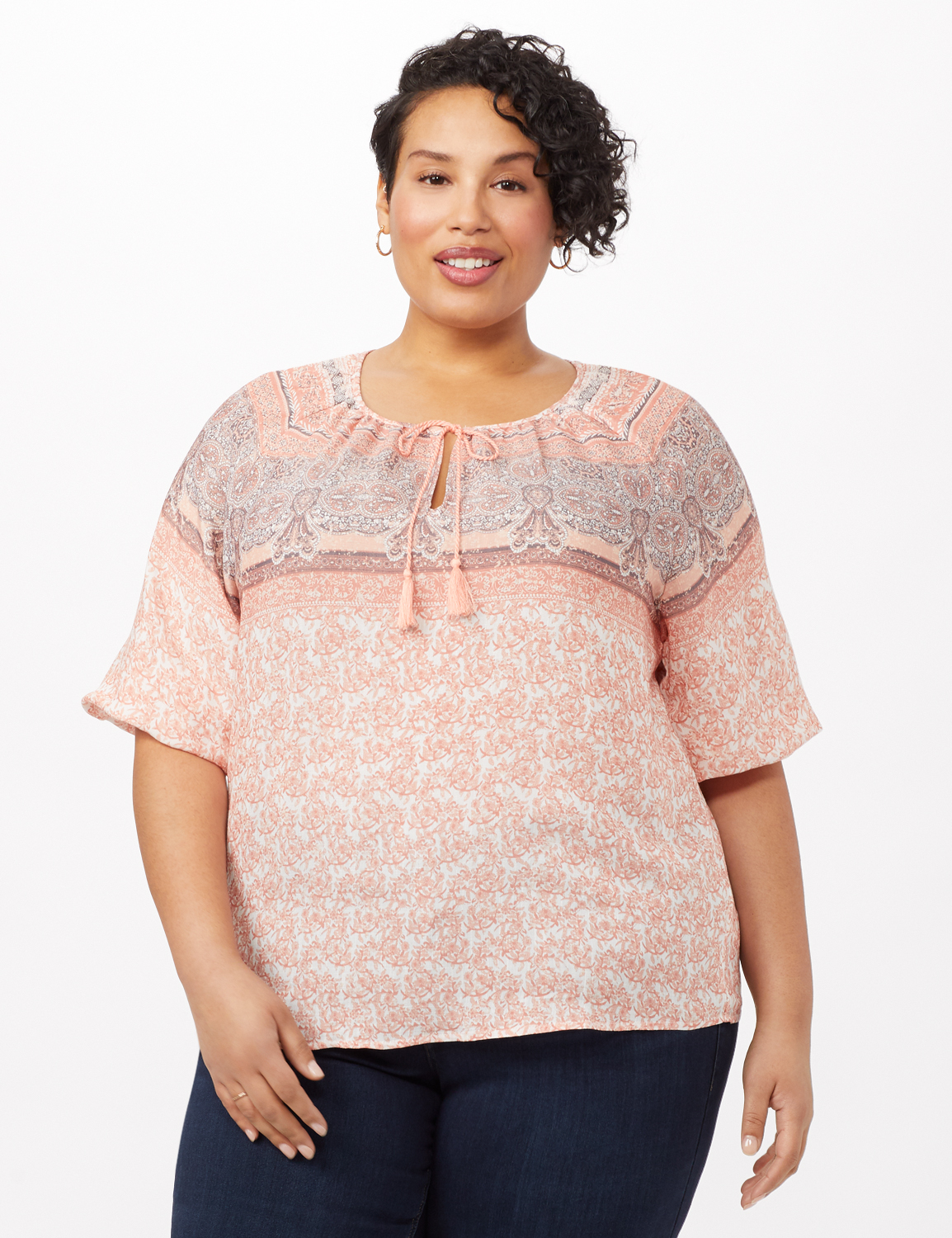 Placed Print Peasant Top -Coral - Front
