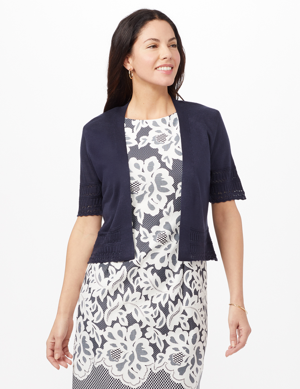 Short Sleeve Pointelle Trim Cardigan - Navy - Front