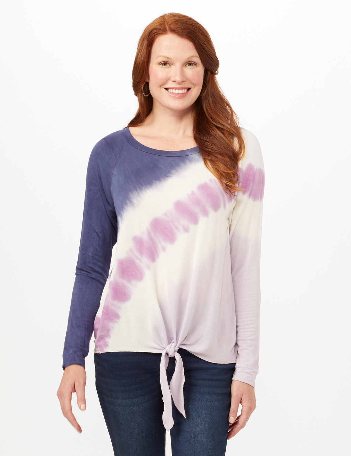 Long Sleeve Tie Dye Tie Front Knit Top - Blue/Lilac/White - Front