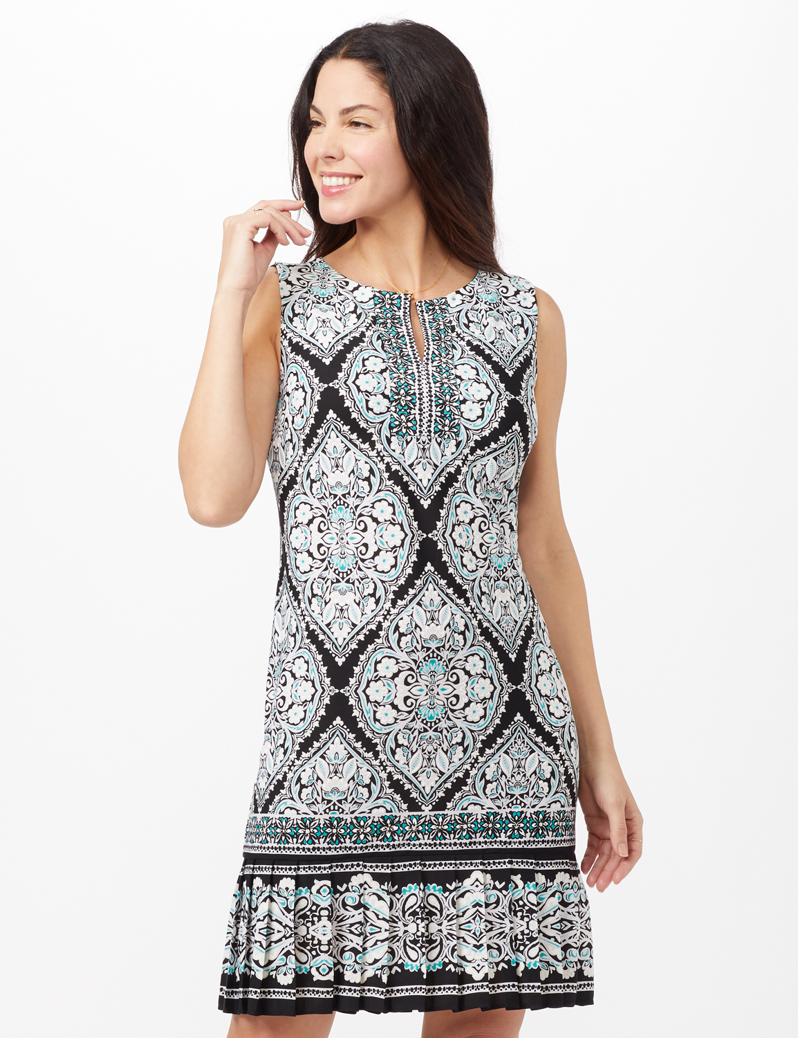 Medallion Puff Print with Pleat Hem Dress -Black/Aqua - Front