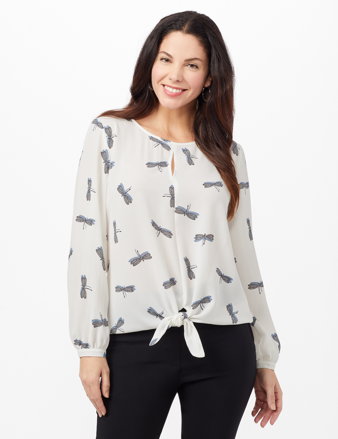 Dragonfly Texture Tie Front Blouse - Ivory - Front