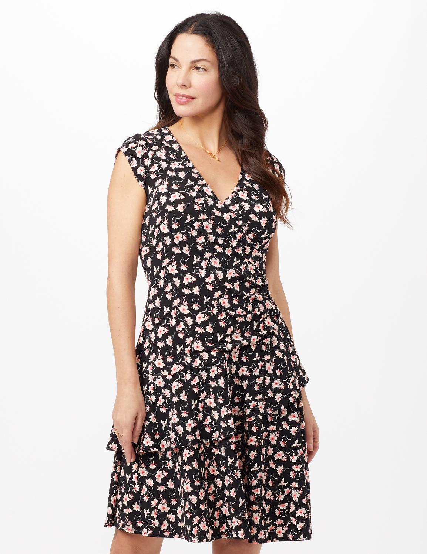 Faux Wrap Tier Hem Dress - Black/Coral - Front