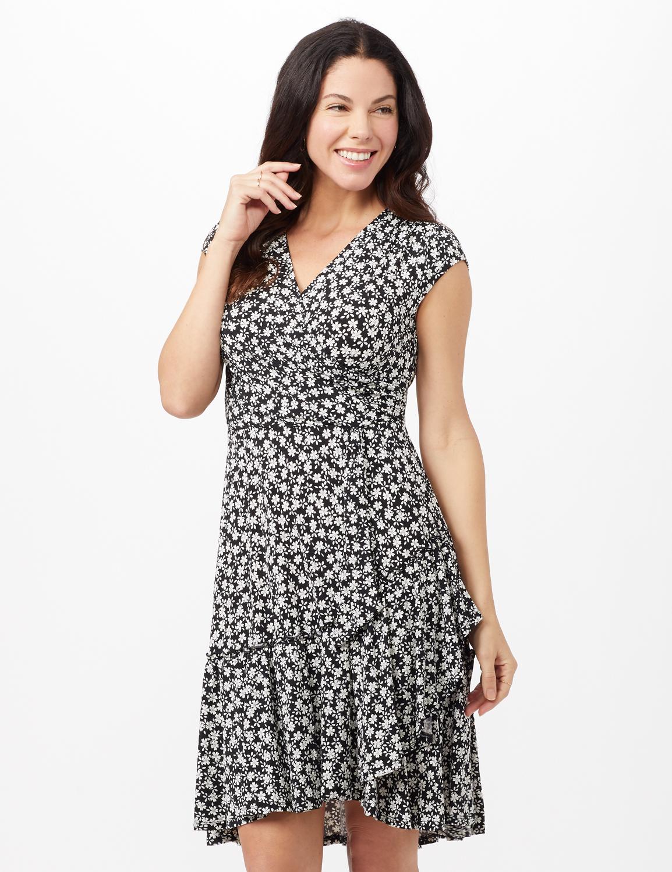 Faux Wrap Ruffle Hem Dress - Black/Ivory - Front
