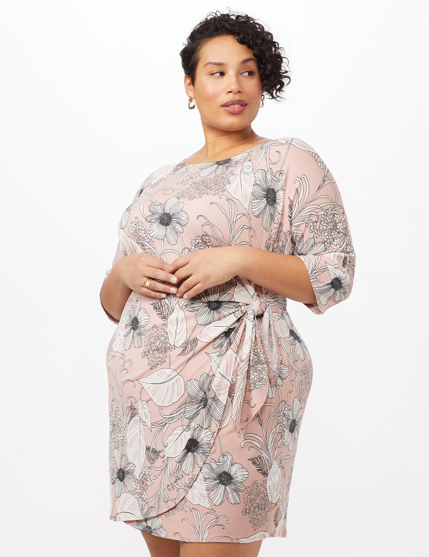 Faux Wrap Tie Waist Floral Dress - Pink /Cream - Front
