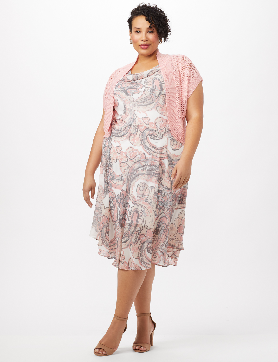 Crochet Sweater Drape Neck Chiffon Dress -Grey /Pink - Front