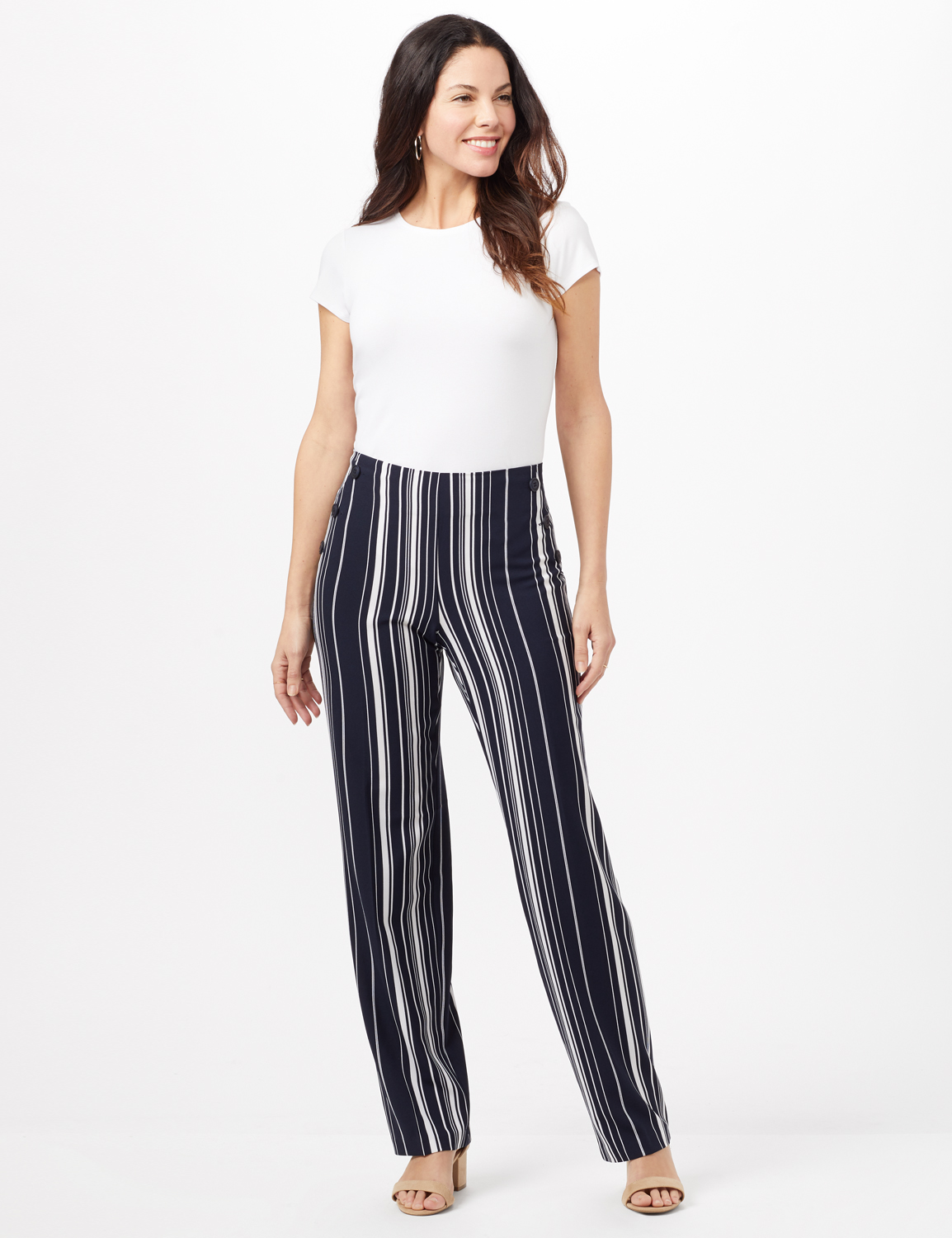 Sailor Stripe Pull-On Pants with Elastic Back - Navy/White - Front