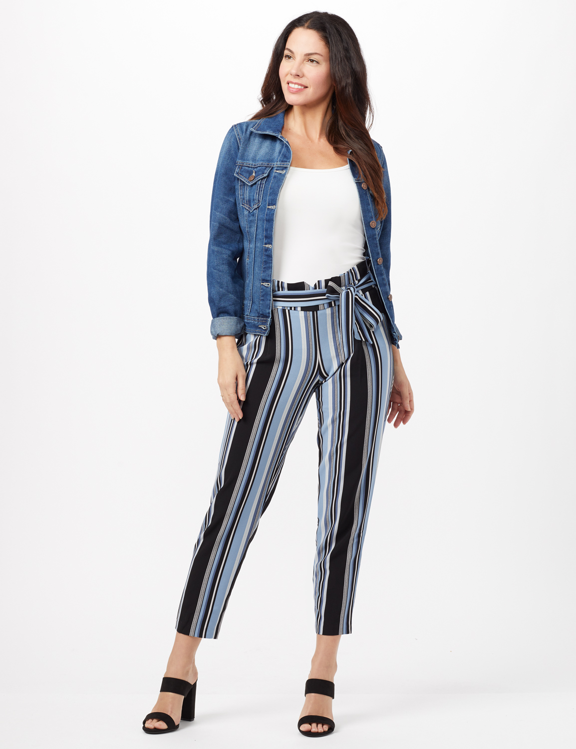 Stripe Pull-On Pants with Tie Waist - Blue/Black - Front