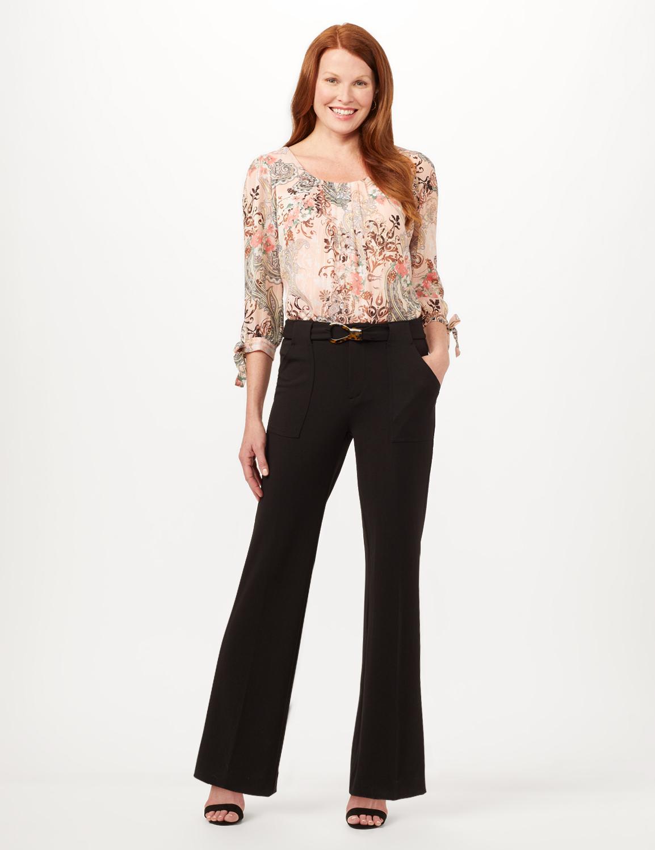 Knit Crepe High Rise Wide Leg Pants -Black - Front