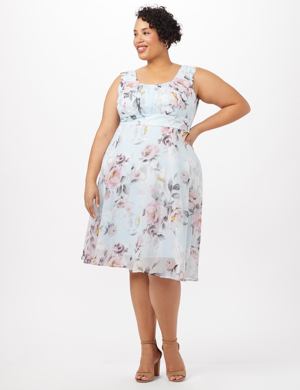 Floral Emma Chiffon Dress - Aqua - Front
