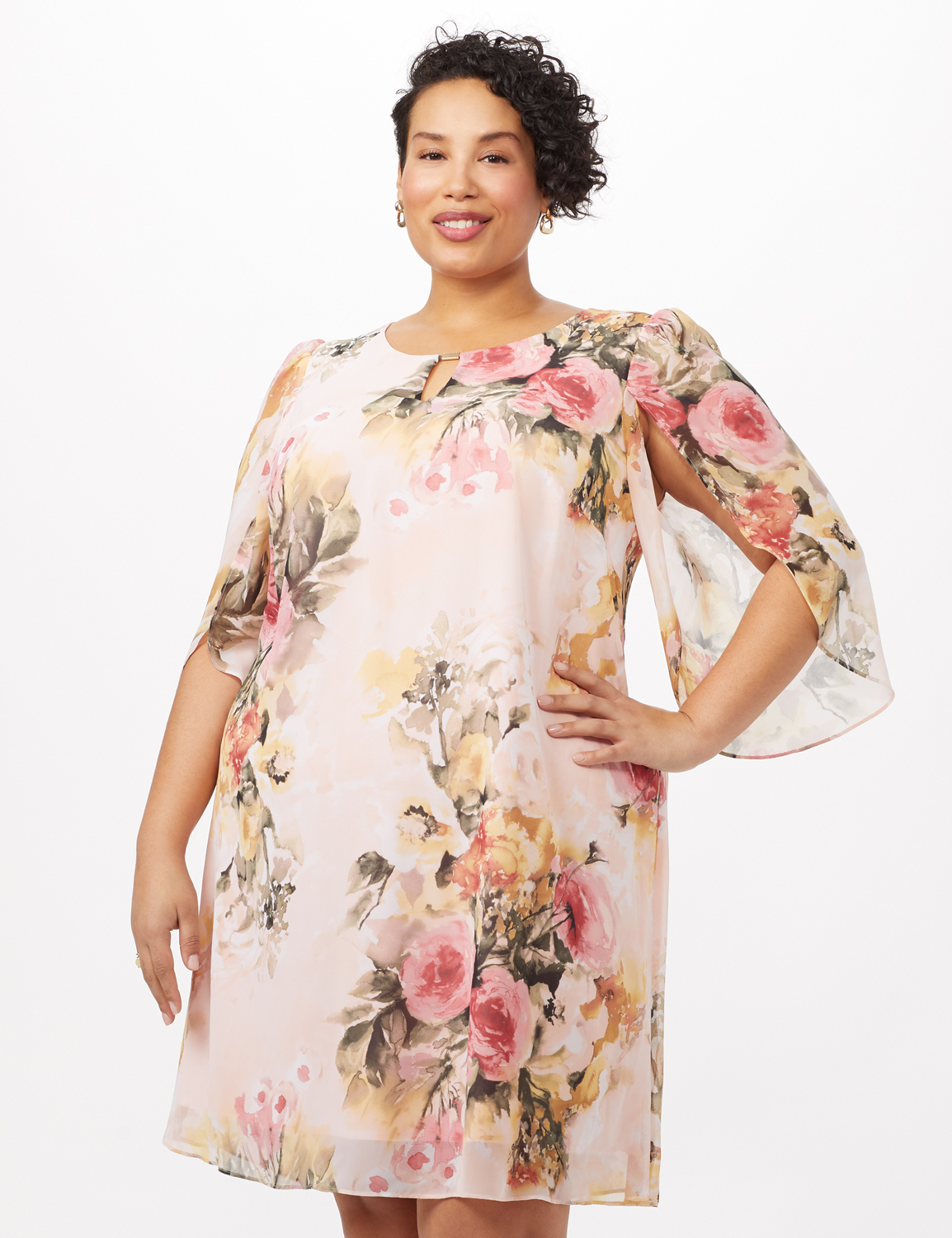 Floral Chiffon Dress with Keyhole Neckline -Rose - Front