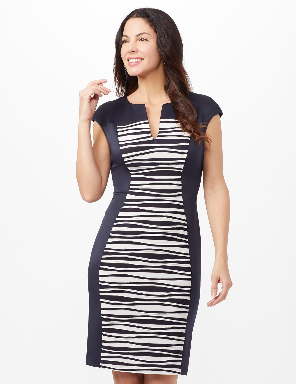 Seam Detail Stripe Insert Dress - Navy - Front