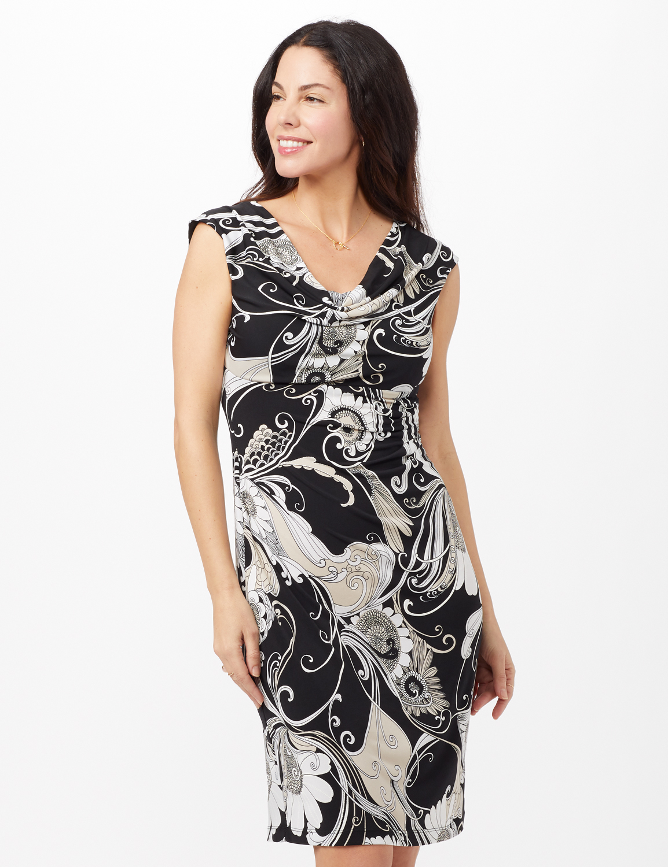 Drape Neck Side Pintuck Dress - Black - Front