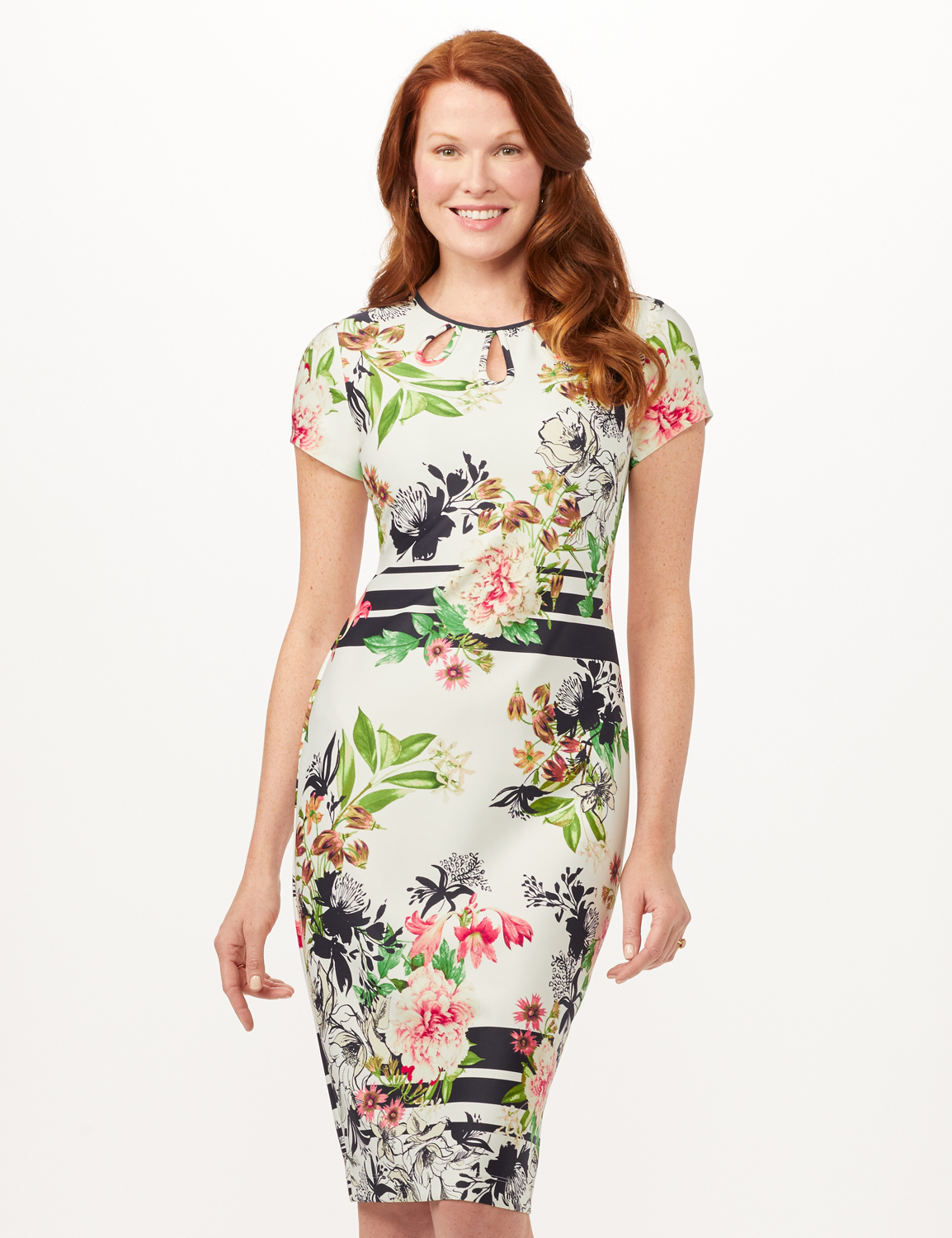 Cutout Neck Floral Scuba Dress -Ivory/Multi/Blk - Front