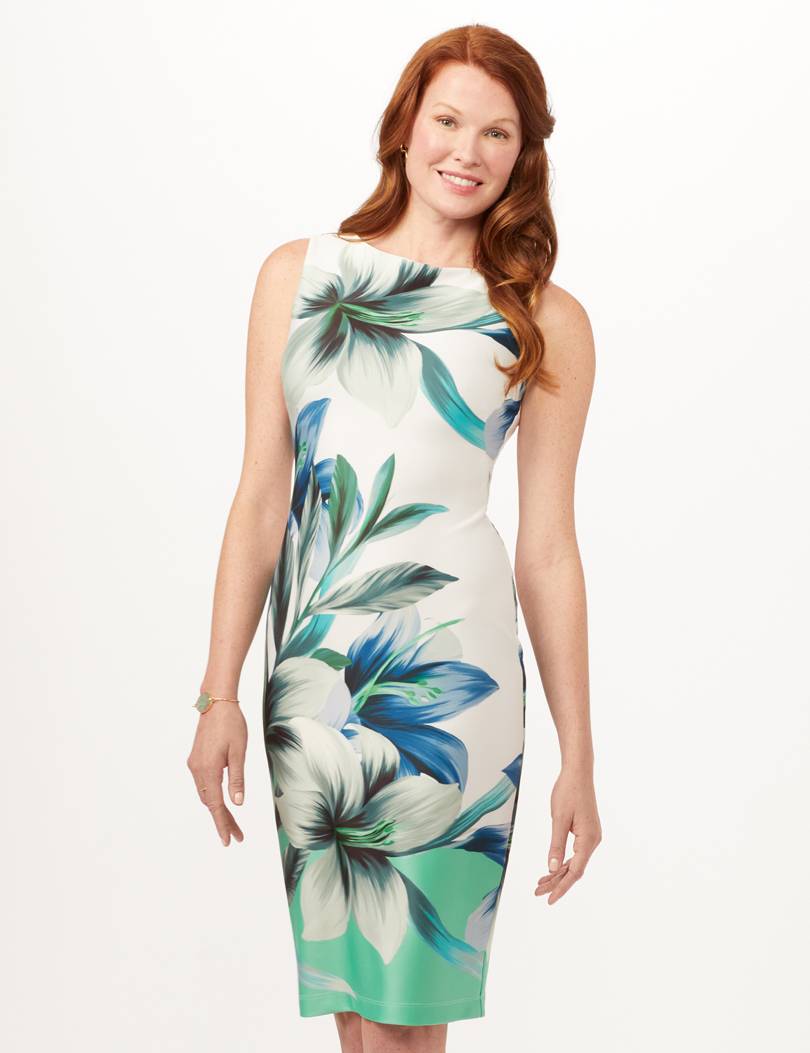 Placed Lily Scuba Sheath Dress - White/Blue/Green - Front